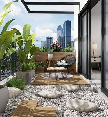 阳台露台, 休闲桌椅组合, 盆栽组合, 绿植植物, 花卉组合, 现代
