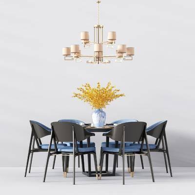 餐桌, 餐椅, 单人椅, 吊灯, 花瓶, 花卉, 新中式