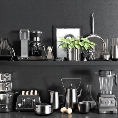 咖啡机, 搅拌机, 榨汁机, 锅具, 面包机, 盆栽, 面包, 鸡蛋, 现代