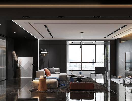 沙发组合, 茶几, 吊灯, 电视柜