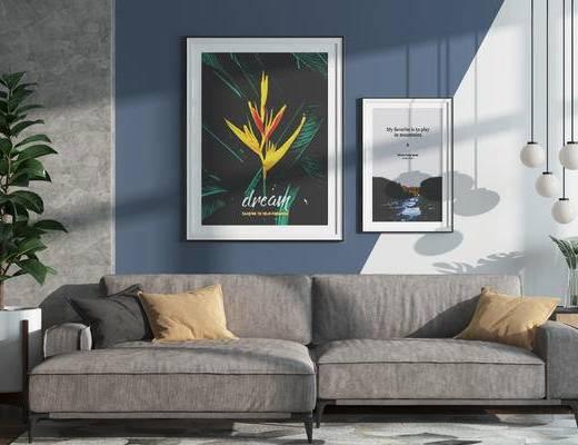 沙发组合, 装饰画, 摆件, 多人沙发, 盆栽, 挂画, 吊灯, 现代, 北欧