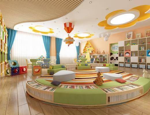 幼儿园, 装饰柜, 桌椅组合, 书籍, 玩偶, 玩具, 单人椅, 摆件, 装饰品, 陈设品, 现代