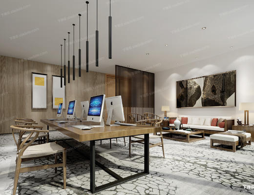 办公室, 桌椅, 椅子, 桌子, 吊灯, 电脑