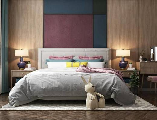 现代卧室, 儿童房, 现代, 布艺床, 玩偶, 台灯, 妆台