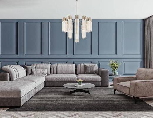 沙发组合, 茶几, 吊灯, 单椅, 边几