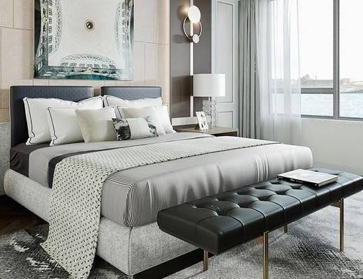 双人床, 床尾踏, 装饰画, 床头柜