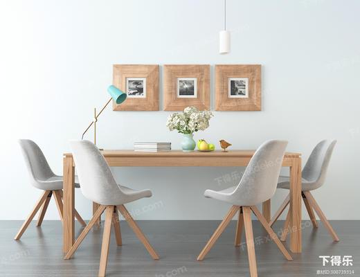 北欧餐桌椅组合, 餐桌椅, 北欧, 椅子, 装饰画, 台灯, 吊灯, 花瓶