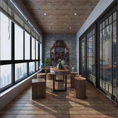 茶室, 品茶室, 生活阳台, 中式, 新中式