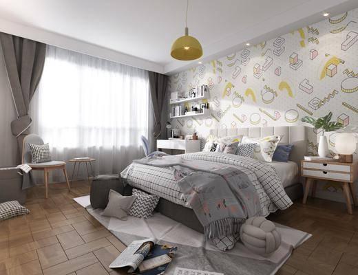 卧室, 双人床, 床头柜, 书桌, 单人椅, 台灯, 置物架, 书籍, 休闲椅, 吊灯, 摆件, 装饰品, 陈设品, 花瓶绿植, 北欧简约