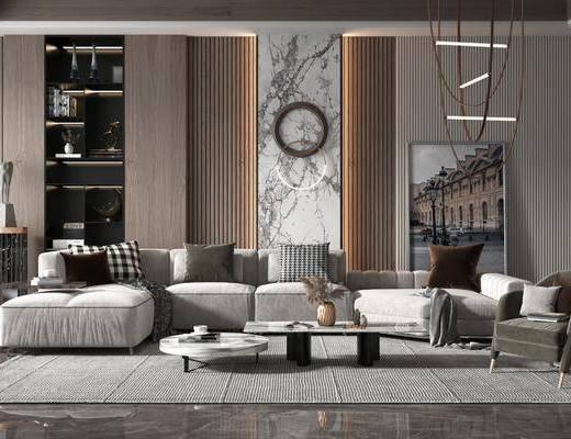 沙发组合, 墙饰, 装饰品, 酒柜, 茶几, 单椅, 吊灯, 装饰画