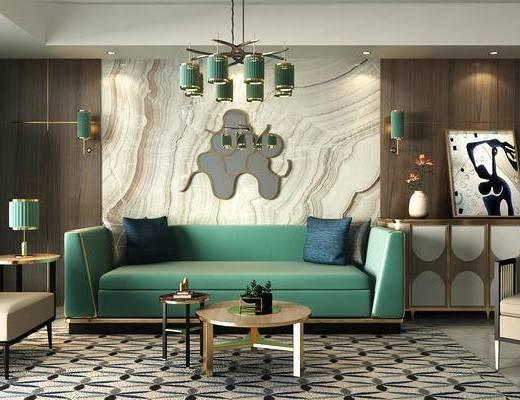 玄关柜, 边几, 台灯, 吊灯, 沙发组合, 沙发茶几组合