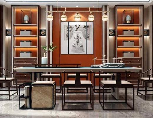 新中式, 会客室, 桌椅组合, 置物架, 吊灯, 植物
