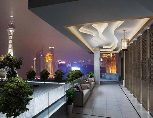 售楼部, 鸟笼吊灯, 沙发组合, 走廊, 多人沙发, 双人沙发, 盆栽, 树木, 现代