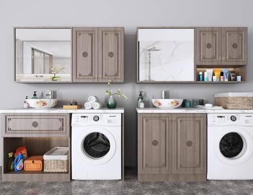 浴室柜, 洗衣柜组合, 洗手台组合, 摆件组合, 新中式
