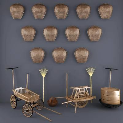 编织篮, 簸箕, 锄头, 摆件, 挂件, 陈设品