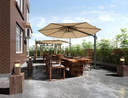 阳台, 露台, 遮阳伞, 休闲桌椅