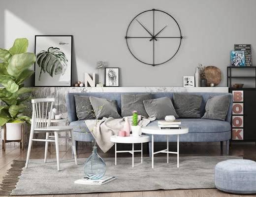 沙发, 茶几, 墙饰, 边柜, 装饰画, 植物, 布艺沙发, 北欧