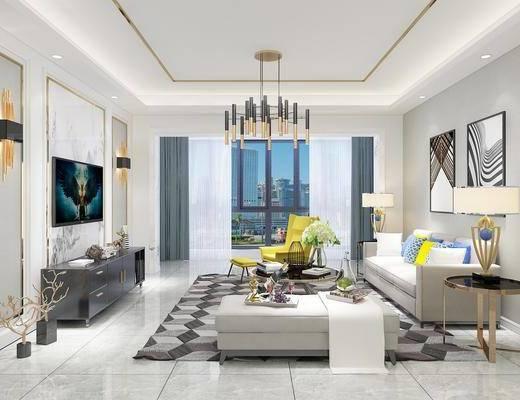 客廳, 沙發組合, 沙發茶幾組合, 臺燈組合, 壁燈, 吊燈, 掛畫, 擺件組合, 現代