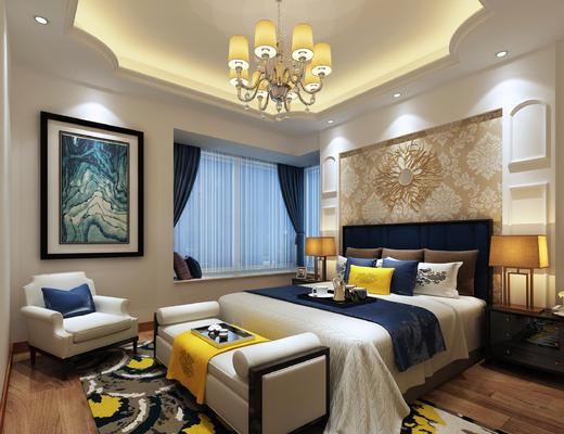 现在, 后现代, 卧室, 床, 吊灯, 床尾凳