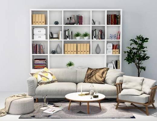 沙发组合, 多人沙发, 北欧沙发, 现代沙发, 沙发茶几组合, 书柜