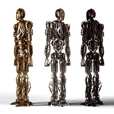 机器人, 角色, 现代, 金属机器人, 金属
