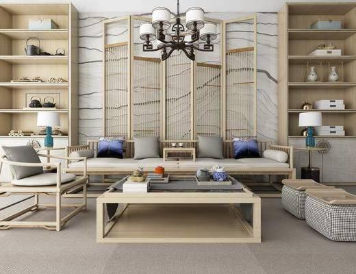 新中式沙发茶几组合, 沙发茶几组合, 沙发组合