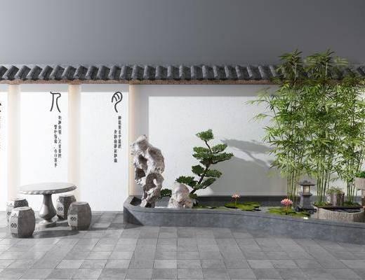 假山, 竹子, 流水, 水景石桌, 景观小品
