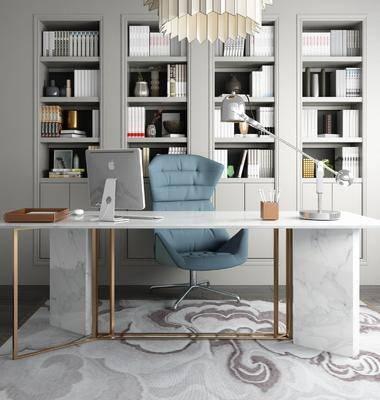 书桌椅, 书柜组合, 摆件组合, 书籍