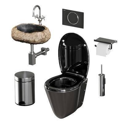 马桶, 洗手盆, 垃圾桶, 马桶刷, 纸巾, 厕所用品, 现代