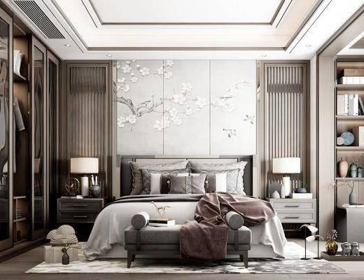 摆件, 软装, 衣柜, 背景墙, 壁纸, 抱枕, 台灯, 地毯