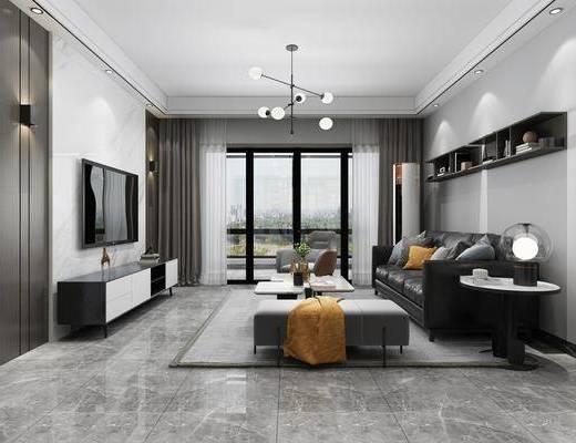 沙发组合, 茶几, 吊灯, 电视柜, 餐桌, 酒柜, 墙饰