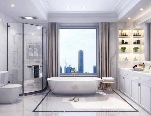 卫生间, 浴室, 浴缸, 洗手台, 装饰柜, 摆件, 装饰品, 陈设品, 马桶, 花洒, 现代