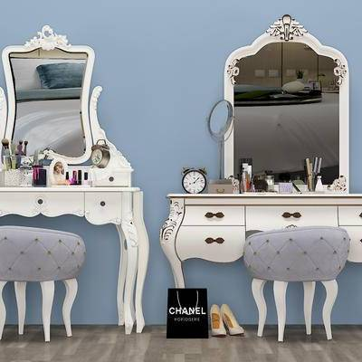 北欧梳妆台, 凳子, 镜子, 摆件
