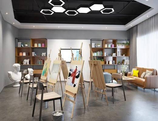 儿童教室, 画室, 沙发, 画板, 椅子, 置物柜