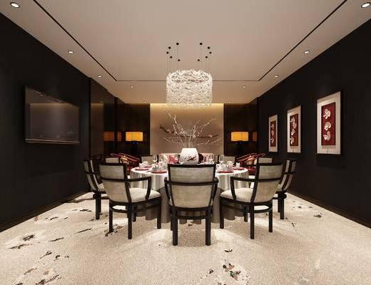 中式, 包间, 包房, 餐桌椅, 吊灯, 桌椅组合