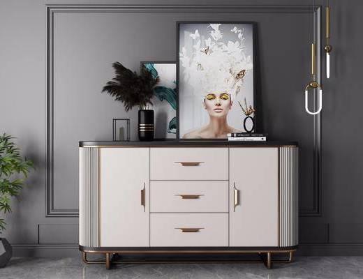 边柜, 柜架组合, 摆件组合, 吊灯, 装饰画