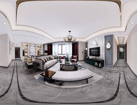 客廳, 餐廳, 家裝全景, 沙發組合, 沙發茶幾組合, 邊柜組合, 餐桌椅組合, 擺件組合, 餐具組合, 吊燈組合, 裝飾柜, 壁燈, 新中式