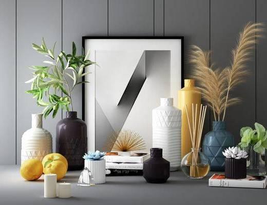 擺件組合, 裝飾畫, 花瓶, 綠植植物, 北歐