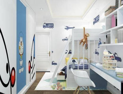 现代, 卡通, 儿童房, 卧室, 双层床, 上下床, 书桌椅, 椅子, 单椅, 休闲椅, 桌子, 陈设品, 书籍, 墙饰