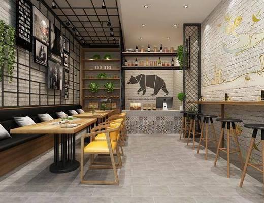 餐厅, 工业风餐厅, 桌椅组合, 卡座