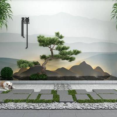 园艺小品, 景观园林, 植物, 假山, 树木, 竹子, 新中式, 新中式园艺小品
