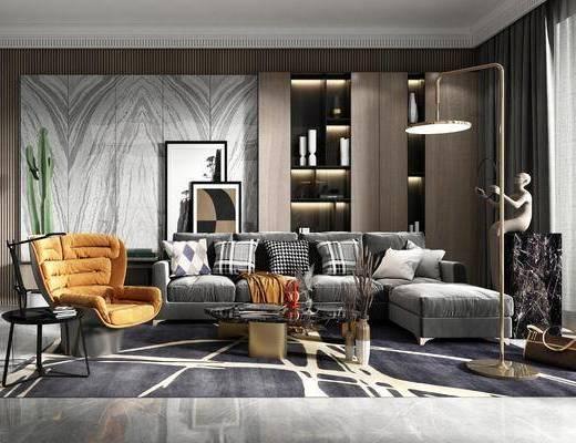 沙发组合, 单椅, 茶几, 装饰品, 摆件组合