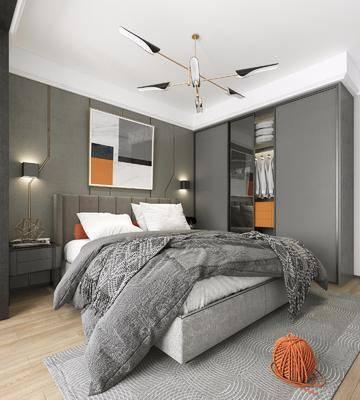 卧室, 双人床, 壁灯, 装饰画, 挂画, 衣柜, 装饰柜, 服饰, 壁画, 吊灯, 现代