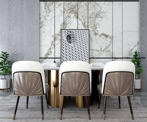 餐桌, 桌椅组合, 装饰画, 盆栽植物