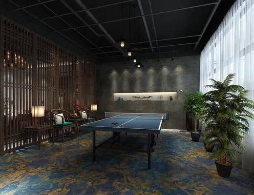 乒乓球台, 盆栽, 单人椅, 边几, 台灯, 装饰品, 陈设品, 现代