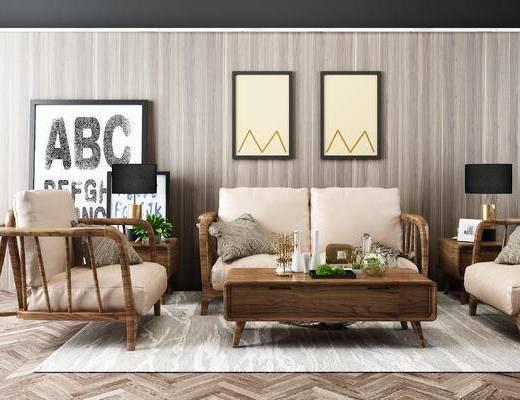 沙发组合, 沙发茶几组合, 装饰画, 现代沙发, 茶几, 现代