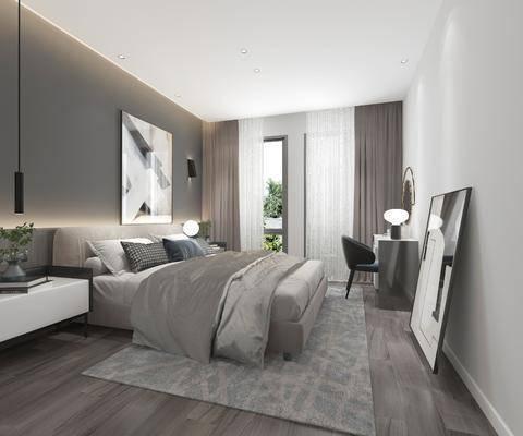 单人床, 装饰画, 床头柜, 吊灯, 书桌, 桌椅组合, 窗帘