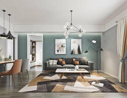 沙发组合, 茶几, 吊灯, 装饰画, 餐桌, 电视柜