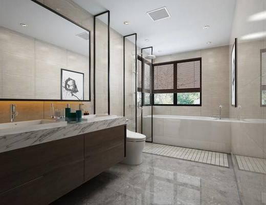 卫浴, 卫生间, 新中式卫生间, 洗手台