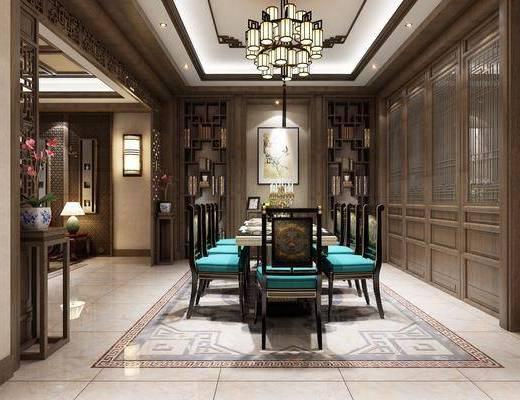中式古典餐厅, 中式, 餐厅, 中式吊灯, 中式椅子, 餐桌椅, 酒柜, 中式屏风